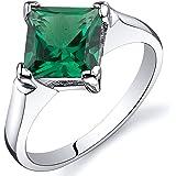 Revoni Striking 1.50 carats Amethyst Emerald Ring in Sterling Silver Rhodium Finish