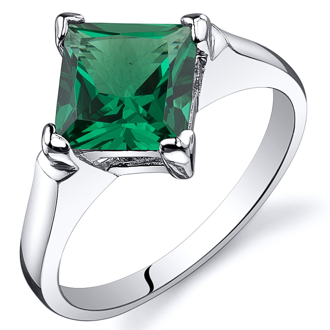 Striking 1.50 carats Simulated Emerald Ring in Sterling Silver Rhodium Nickel Finish Size 5