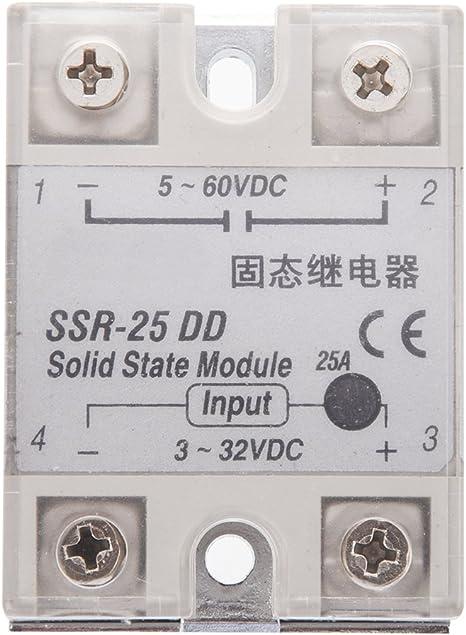 R SODIAL Rele de estado solido SSR DC-DC 25A 3-32VDC 5-60VDC