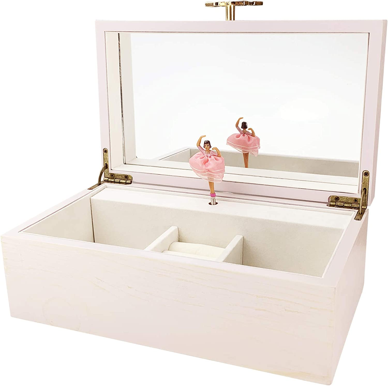 TIMLOG Girls Jewelry Box 2 Ballerina Washed Pink Music Jewelry Box with Butterfly, Wooden Musical Jewelry Box with Mirror for girls