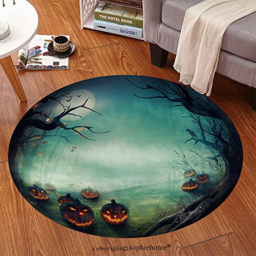 Sophiehome Soft Carpet 113358601 Halloween design Forest pumpkins Horror background with autumn valley with woods, spooky tree, pumpkins and spider web Space for Anti-skid Carpet Round 34 inches ()