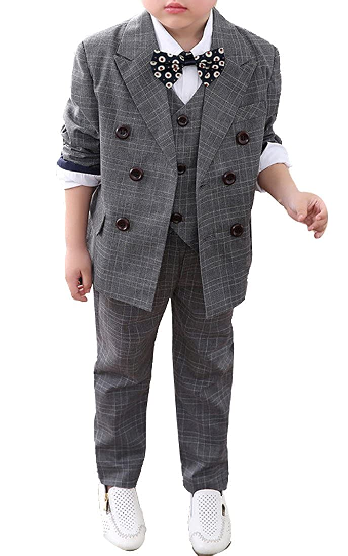 Boys Plaid Peak Lapel Double Breasted Suits Blazer Vest Pants 3-Pcs Gray & Blue
