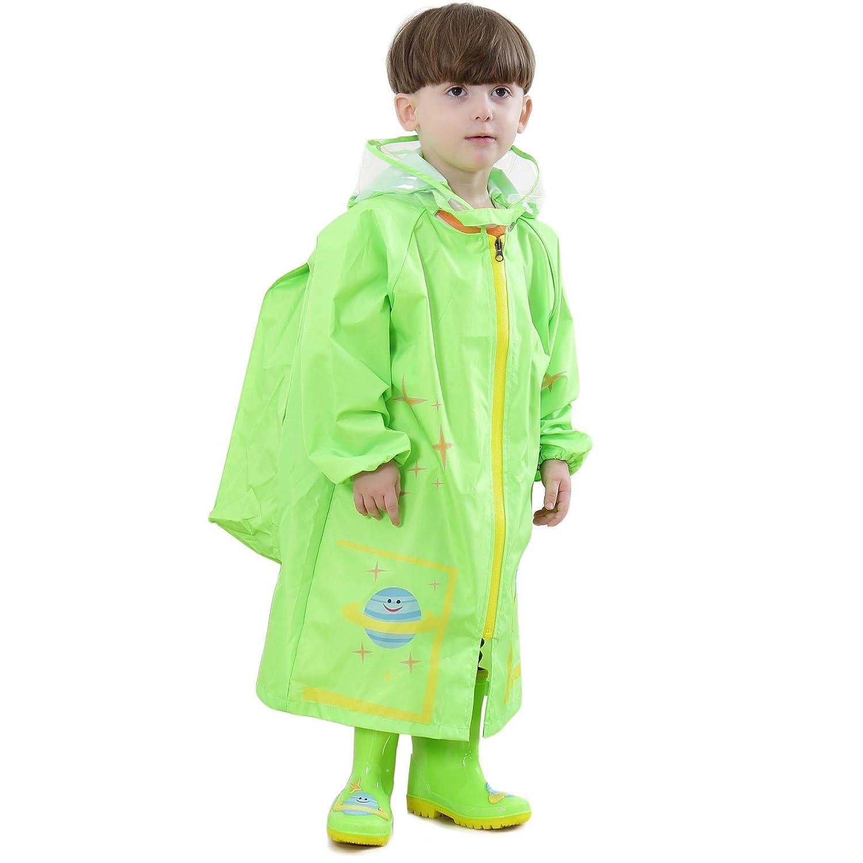 Bwiv Regenponcho Kinder Wasserdicht Atmungsaktiv Leicht Regenmantel Mit Schulranzen Jungen M/ädchen langlebende Regen Overall Softshelljacke Regencape Outdoor Sport