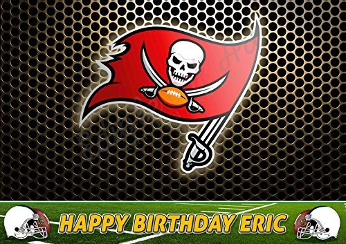 Tampa Bay Buccaneers NFL Edible Cake Topper Personalized Birthday 1/4 Sheet Decoration Custom Sheet Party Birthday on Wafer Rice Paper ()