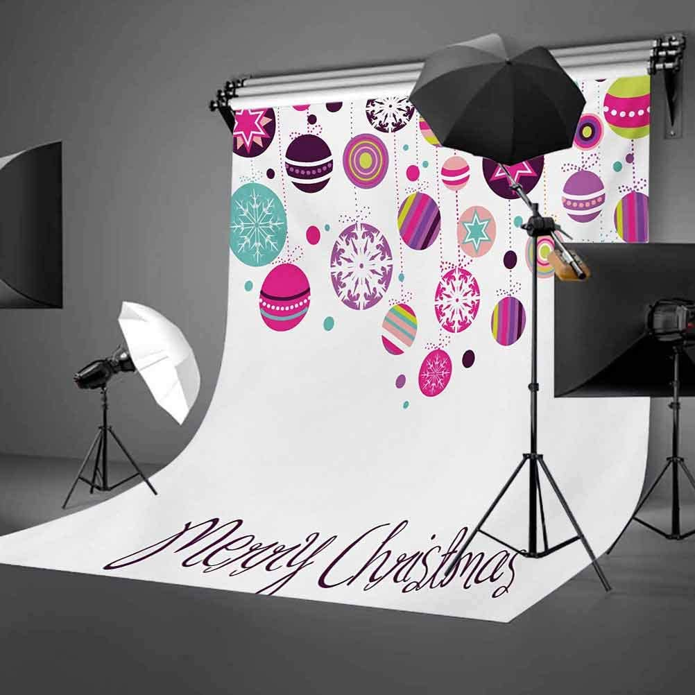 10x12 FT Photo Backdrops,Colorful Graphic Baubles with Retro Snowflake Ornaments Celebration Hand Writing Background for Baby Shower Birthday Wedding Bridal Shower Party Decoration Photo Studio