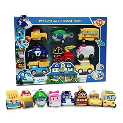 8 Pack Poli Robocar Pull Back Toy Robot Cars Korea Cartoon Special Die Cast Set Christmas Children's Day Gift Boys Girls Toy: Toys & Games