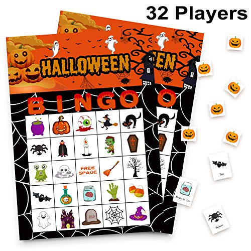 Halloween Bingo Game Cards (32 Players Halloween Games Bingo Cards for Kids Class Party Supplies)