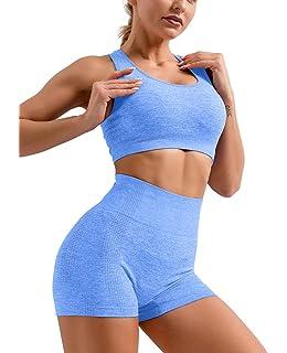 OQQ Women 2 Piece High Waist Ruched Workout Gym Running Shorts Yoga Racerback Sports Bra Set