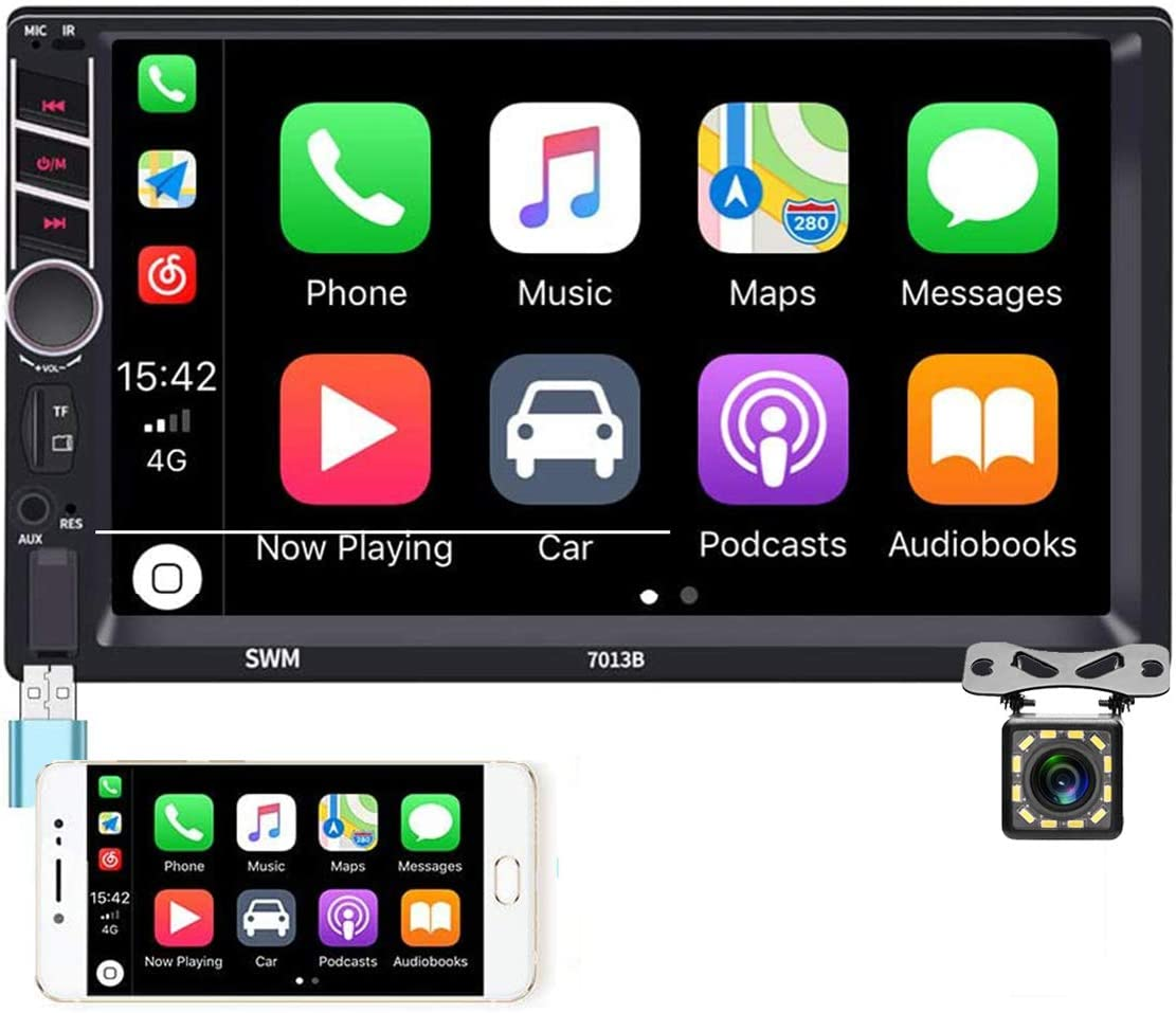 Double Din Car Stereo Radio Audio 7'' Touch Screen D-Play Universal Car Multimedia Player with Bluetooth FM Autoradio Receiver Support AUX in/TF/USB, Mirror Link, SWC with 12 LEDs Rear View Camera
