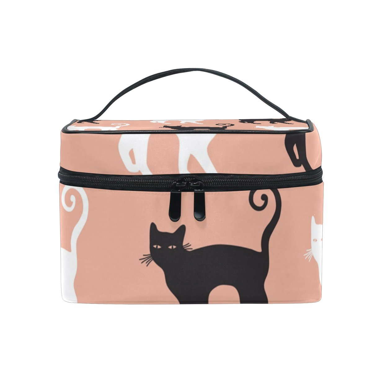 c9917ff37526 Amazon.com : SAVSV Travel Makeup Bags With Zipper Black Cats In Pink ...