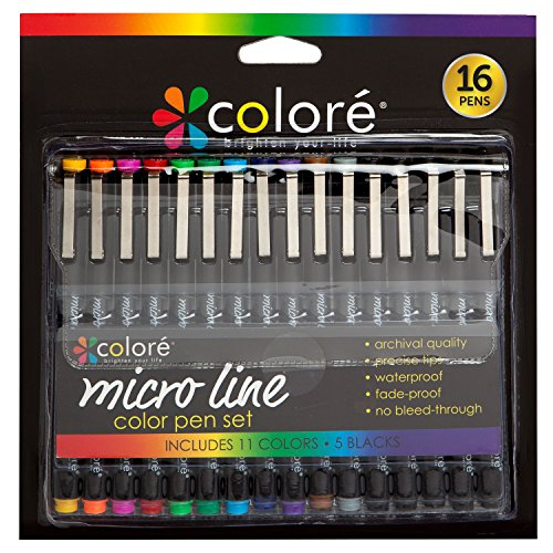 "Colore PRECISION Ultra Fine Tip Micro Line Pens â€ÂÂ"" Waterproof & Vibrant Color Inking Pen Set With Variety Nib Sizes (16 Pack) (Graphic Pens Marker)"