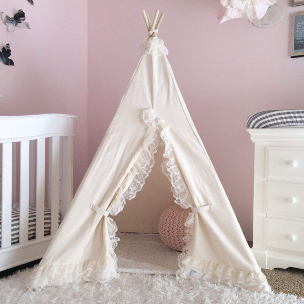 Canvas Kids Play Teepee Children Tipi Anti-Collapse Play Tent Childrens Tents Indoor Outdoor White with lace Edge Playhouse Washable-Creamy-White