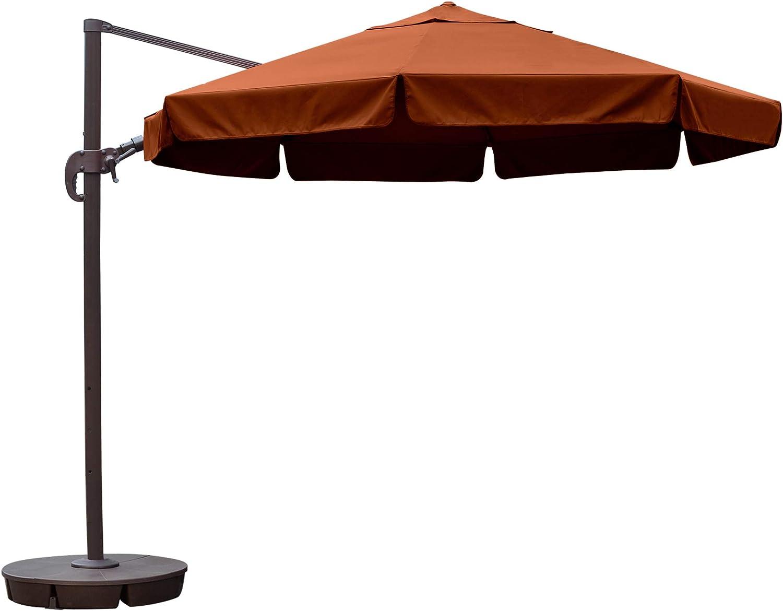 Island Umbrella NU6550 Freeport Octagon Cantilever with Valance in Sunbrella Acrylic, 11 , Terra Cotta