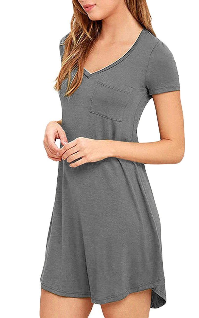 Eanklosco Womens Casual Short Sleeve Plain Pocket V Neck T Shirt Tunic Dress (Grey, L)