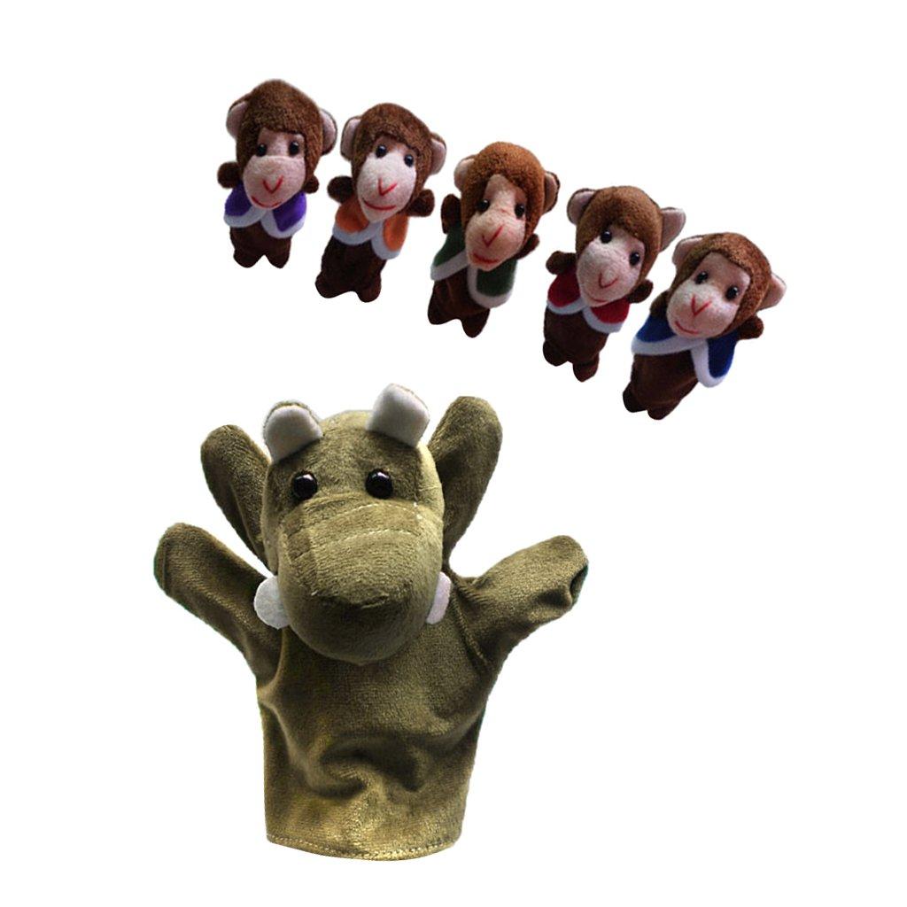 Satz 6pcs Fingerpuppen - Fünf Kleine Affen In Einem Baum Schwingen Generic