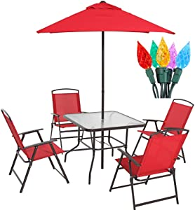 Mainstay- Outdoor Albany Lane 6-Piece Sturdy Folding Seating Set with Christmas Bundle, Red