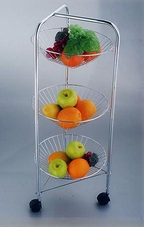 Nueva ronda de 3 pisos cromado verduras carrito de cocina de frutas de almacenamiento portátil: Amazon.es: Hogar