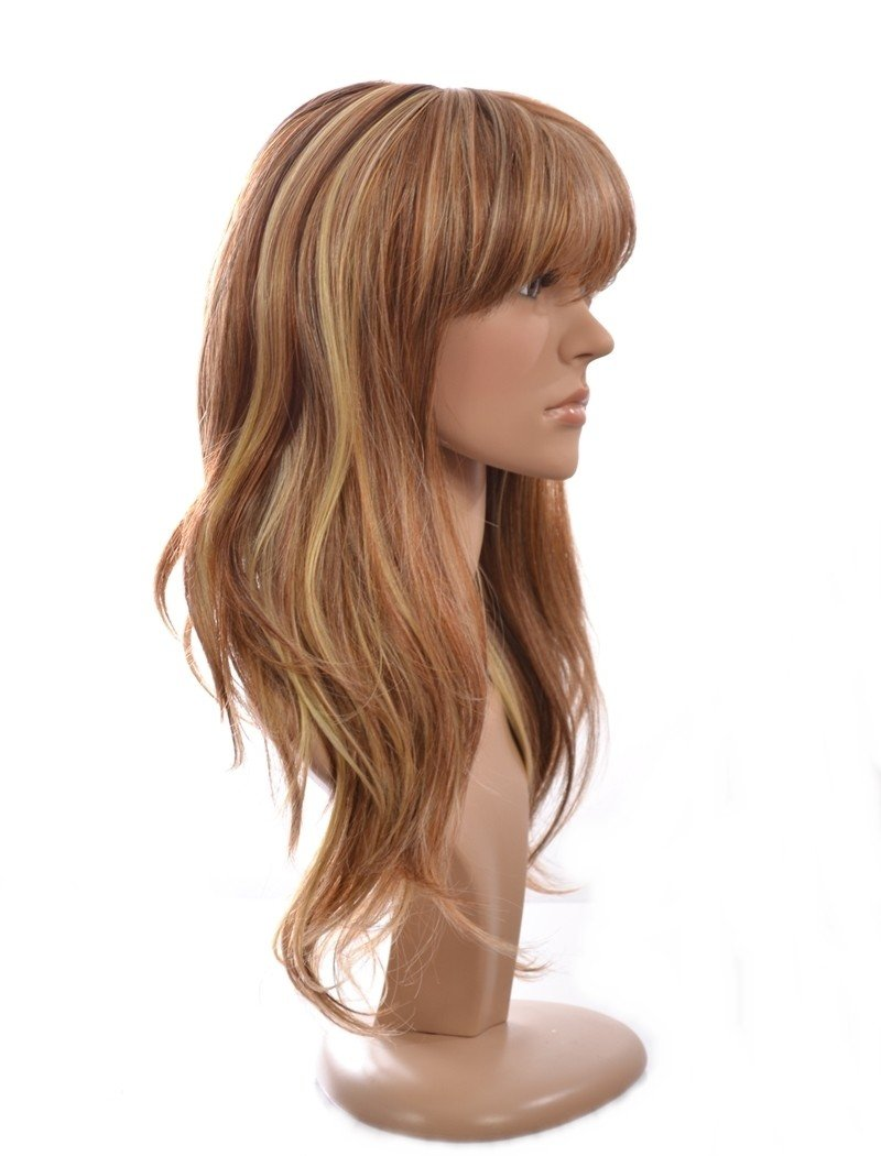 Amazon Summer Long Wavy Blonde Wig With Soft Fringe In The