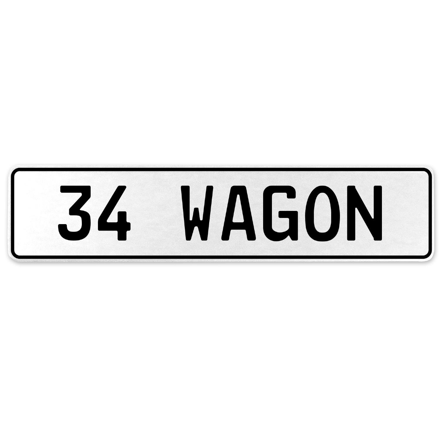Vintage Parts 558195 34 Wagon White Stamped Aluminum European License Plate
