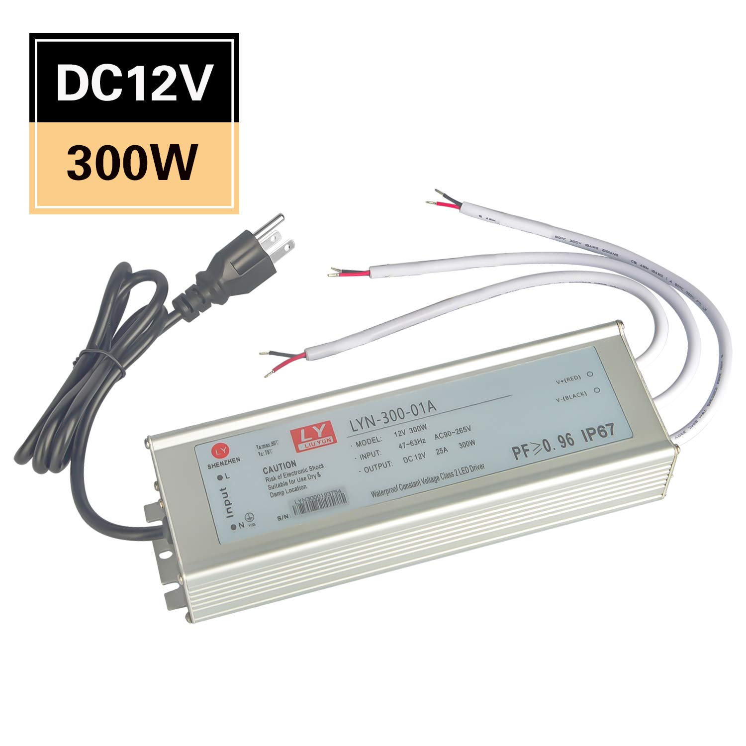 LED Driver 300Watt(100W X3) 25A, Waterproof IP67 Power Transformer Adapter, 90V-265V AC to 12V DC, Low Voltage Output, with US Standard 3 Plugs for LED Lights, Computer Projects, Outdoor Lights.