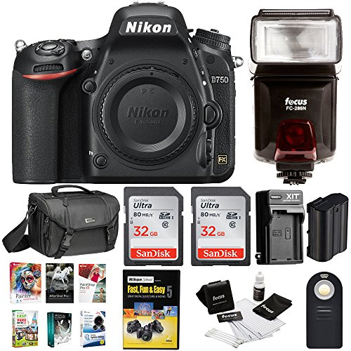 Nikon D750 DSLR Camera Body with 64GB Kit + Nikon Case + Battery and Bundle by Nikon