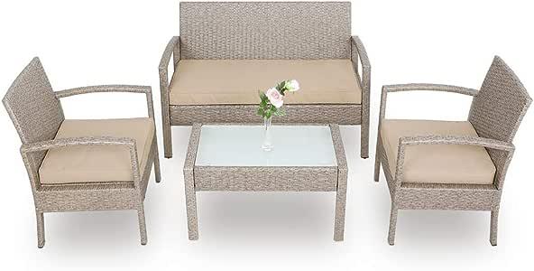 Deuba Conjunto de jardín de poliratán set de 1 mesa 2 sillas 1 banco Gris / Beige resistente a los rayos UV intemperie: Amazon.es: Jardín
