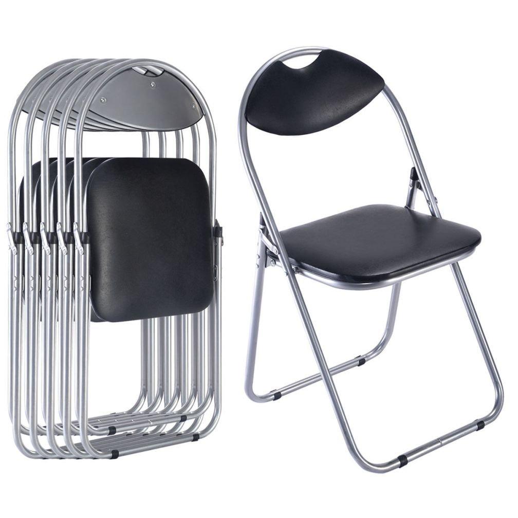 ファッション6個U形状折りたたみ椅子家具ホームアウトドアピクニックポータブルブラック B01FUCFHV4