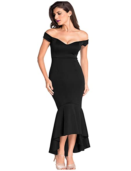 Erosebridal Plus Size Womens Evening Dress for Formal Mermaid Prom Gowns Casual Dress Black S