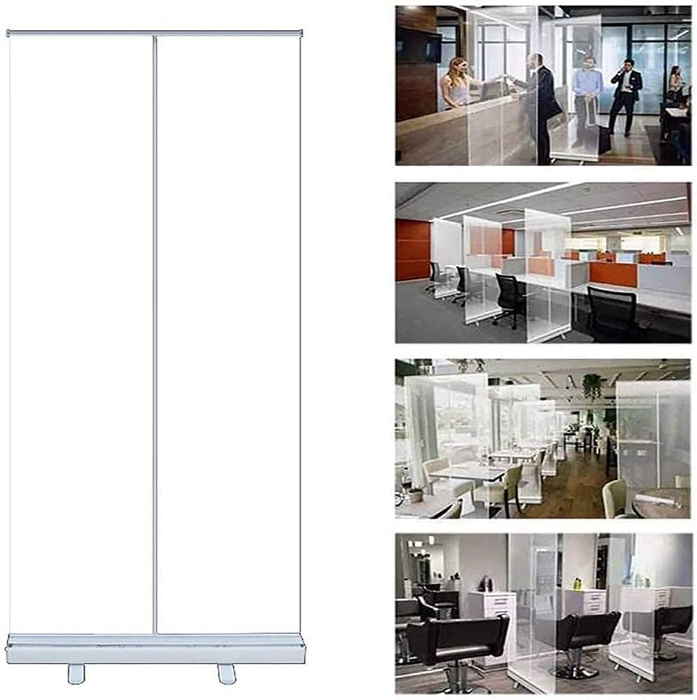 DUWEN Pull Up Roller Banner,Transparent Sneeze Guard,Portable Shield Barrier Hygiene Partition Protective Screen Plastic Divider,Used in Offices Size : 100200cm Gym, Libraries,Store,Bank