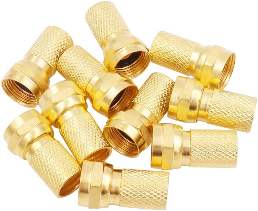 RG6 Compression Connectors 75 Ohm Screw F Type Coax Coaxial Adapter Plug Fitting for Digital Audio Video TV Satellite Antenna Cable Cord Fancasee 10-Pack Gold Plated