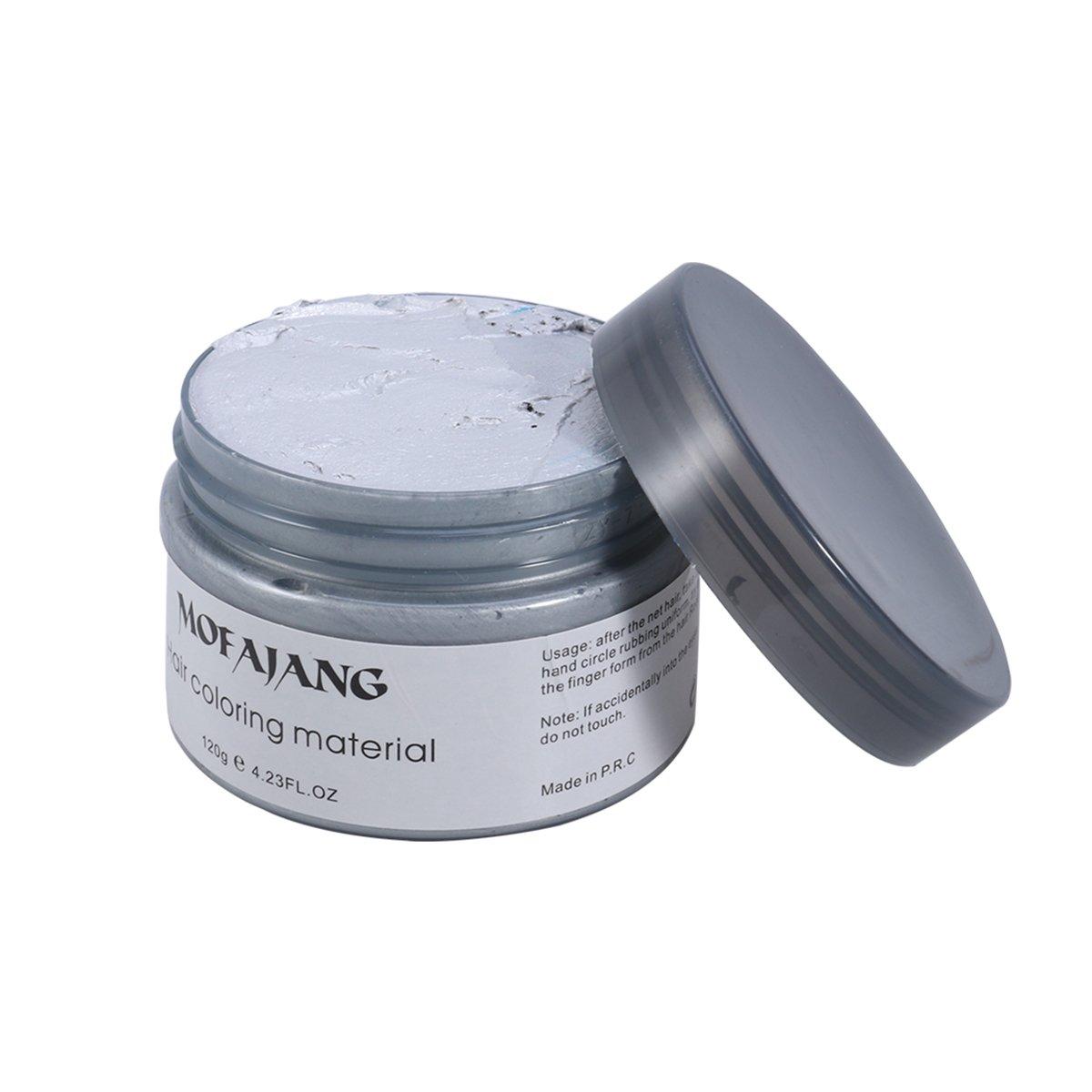 Frcolor Crema Tinte de Pelo Cera de Pelo Profesional para Hombres Mujeres (Gris)
