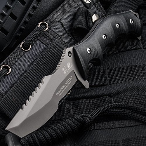 - HX OUTDOORS - fixed blade knives with sheath,Tanto Blade survival knife,Special forces tactical knife,Made of 440C stainless steel and a Ergonomic G10 anti-skid handle (Seal)