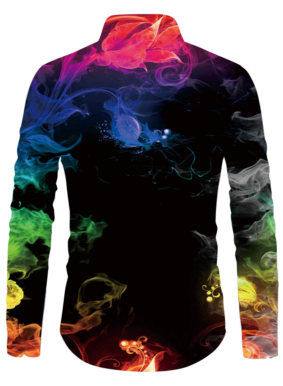 Uideazone Men Colorful Smoke Printed Shirt Premium Full Sleeve Button Down Shirts