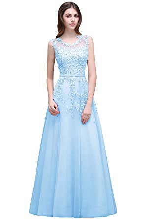 9e7b8eae844e Babyonline Women's Lace A Line Formal Evening Dress for Women Long ...