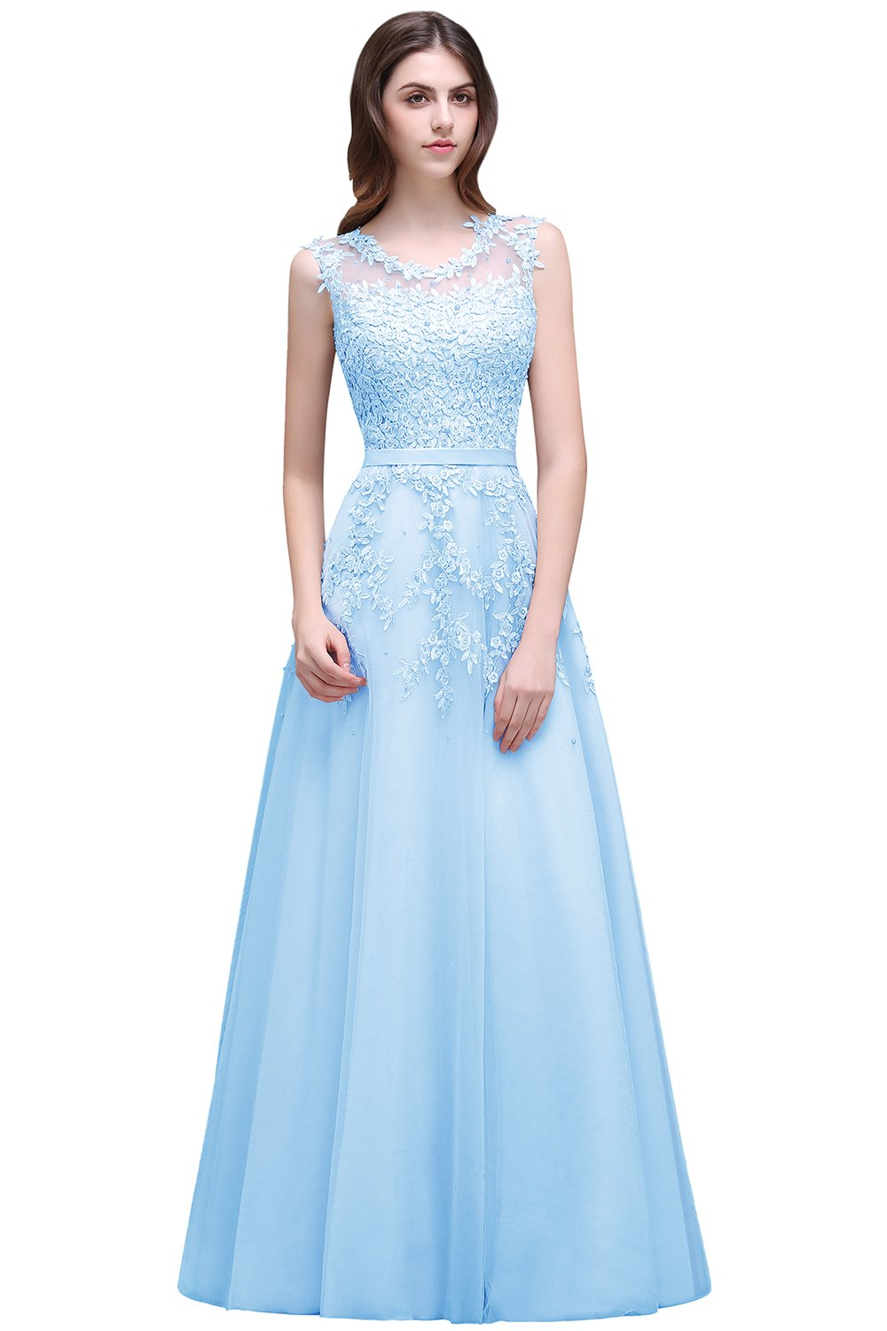 Babyonlinedress Sexy Sleeveless Lace Appliques Light Blue Cocktail Party Dress