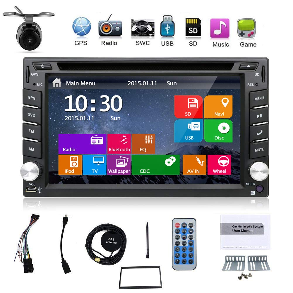 Latest Win 8 Ui Design 6.2 inch In-dash Double-din LCD Touch Screen Navigation Car Video Audio Radio Auto Stereo with Bluetooth, Subwoofer output+Free GPS Antenna+Review Camera BX-110W8