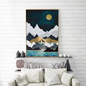 SIGNFORD Framed Canvas Home Artwork Decoration Nordic Style Abstract Color Canvas Wall Art for Living Room, Bedroom - 16x24 inches