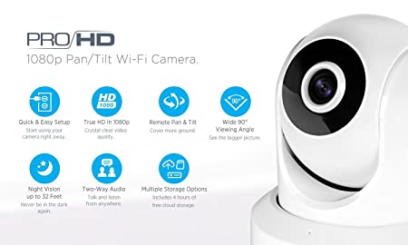 Amcrest IP2M-841 ProHD 1080P 1920TVL Wireless WiFi IP Camera, White Renewed