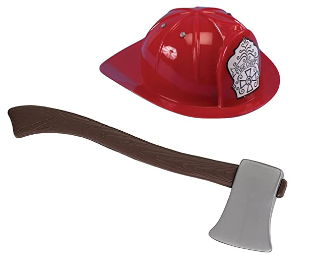 amazon com child red fire chief fireman helmet hat and toy ax axe