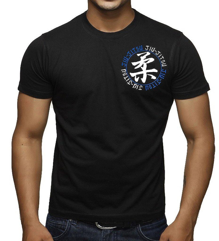 Interstate Apparel Inc Mens Chest Jiu Jitsu Circle Black T-Shirt Black