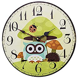 SkyNature Owl Decorative Wooden Wall Clock Silent Non-Ticking for Kids Room (14 inch Mushroom)