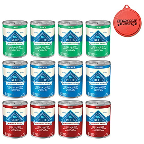 Cheap Blue Buffalo Bundle Homestyle Recipe Canned Dog Food Pack 12.5 oz x 12 cans, Lamb Dinner, Chicken Dinner and Beef Dinner