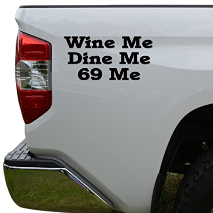 aa3c78ff4 Rosie Decals Funny Wine Dine Me Sex Position 69 Die Cut Vinyl Decal Sticker  For Car