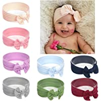 55e27e28bdd Xinshi Baby Girls Elastic Soft Hair Band Infant Bow Headbands Turban