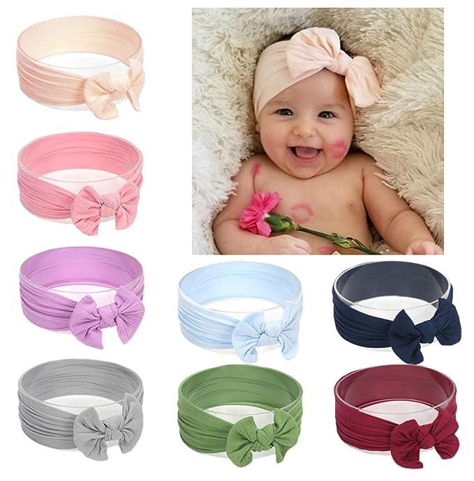 Xinshi Baby Girls Elastic Soft Hair Band Infant Bow Headbands Turban (nybow  8pcs) 840da004168
