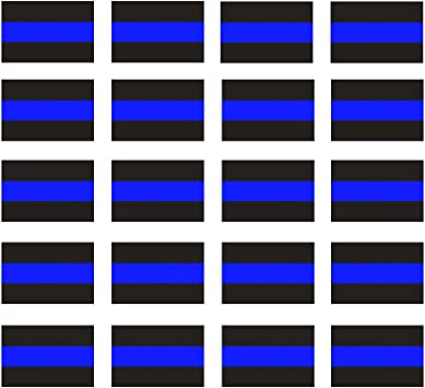 """Reflective Police Thin Blue Line Bumper Decals 2 Pack, 4/"""" x 2.6/"""" /& License.."""