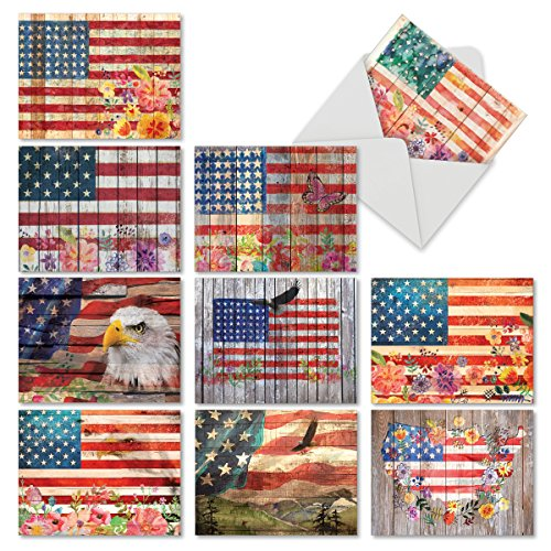10 'Artful Flags' Thank You Notes in Red, White, and Blue, Boxed Set of Rustic American Flag Cards with Envelopes (Mini 4
