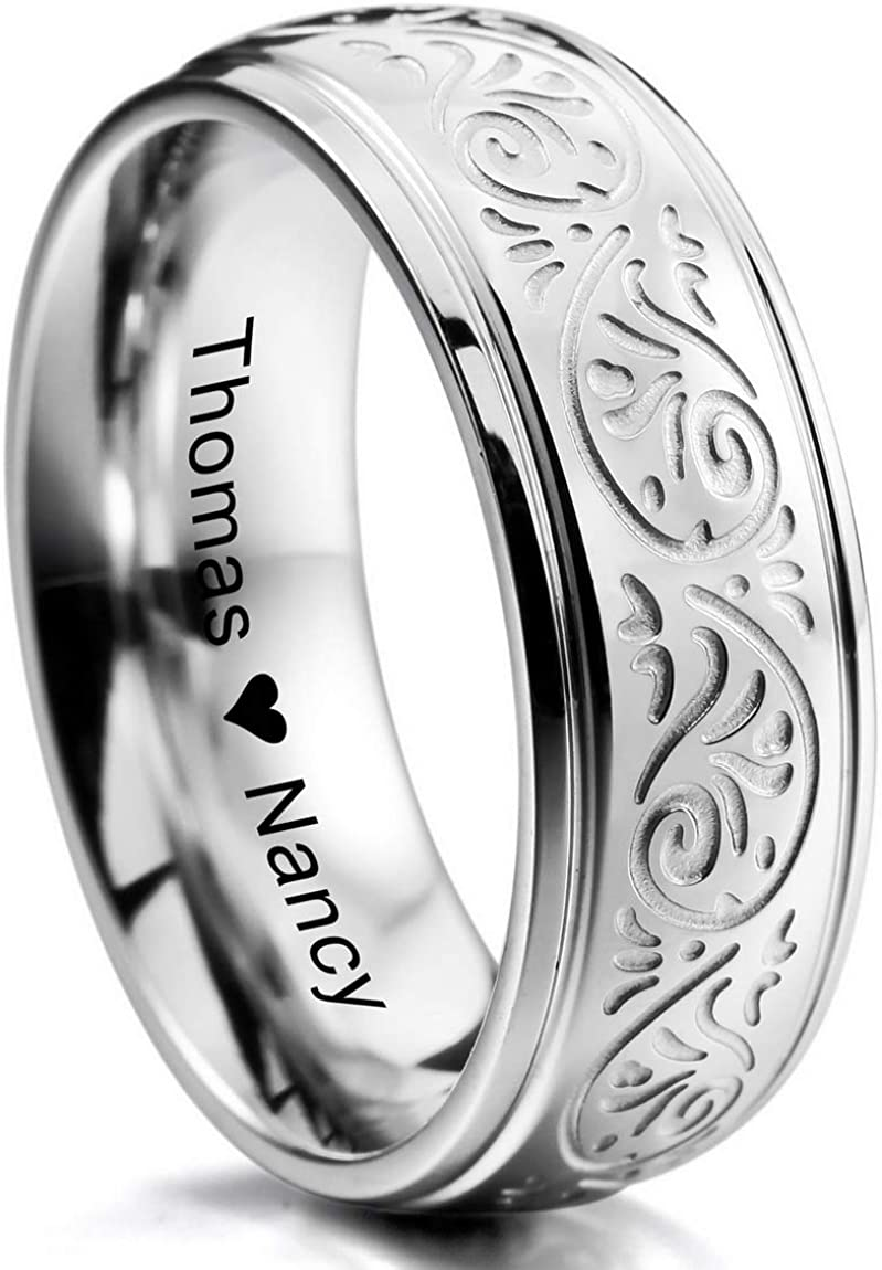 INBLUE Personalized Florentine Design Promise Rings Engraving Name Date Custom Rings for Women Girls Mothers Day Stainless Steel Wedding Band Ring Jewelry Valentines Gift for Her