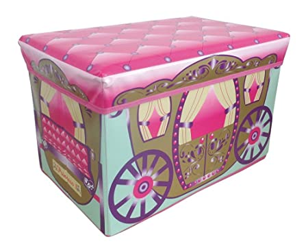 Jumbo Large Toy Boxes Laundry Kids Childrens Storage Chest With Padded Lid  (Princess Brown Carriage