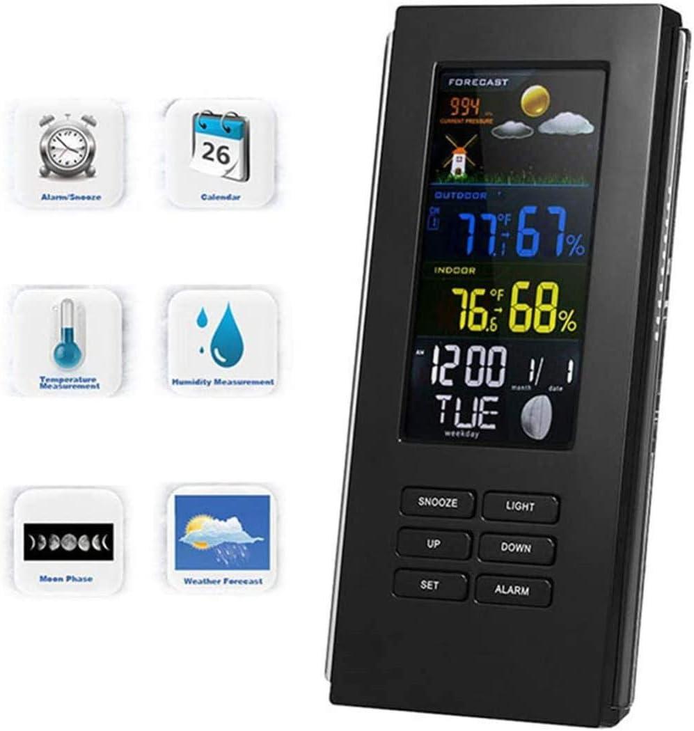 HAOHAO Estación meteorológica, LCD a Color Dentro de la Pantalla barómetro/Sensor Externo, LED con función de Despertador Verano retroiluminación